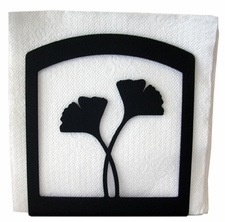 Napkin Holder, Ginko Leaf Silhouette, Wrought Iron