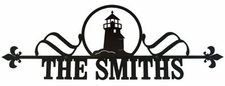 Custom House Plaque / Sign, Wrought Iron, Lighthouse
