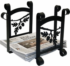 Magazine / Newspaper Rack, Wrought Iron, Acorn