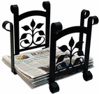 Magazine / Newspaper Rack, Wrought Iron, Leaf Fan