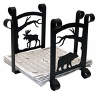 Magazine / Newspaper Rack, Wrought Iron, Moose, Bear