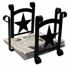 Magazine / Newspaper Rack, Wrought Iron, Star