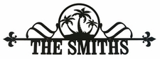 Custom House Plaque / Sign, Palm Trees, Wrought Iron