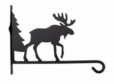 Plant Hanger, Wall Mount, Wrought Iron, Moose & Tree