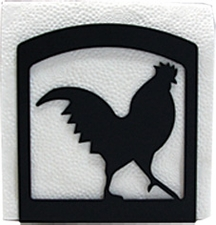 Napkin Holder, Rooster Silhouette, Wrought Iron