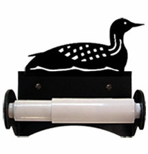 Toilet Tissue / Paper Holder, Loon, Duck, Wrought Iron, Roller