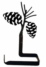 Toilet Tissue / Paper Holder, Pinecones, Wrought Iron, Traditional