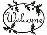 Welcome Sign, House Plaque, Acorn, Wrought Iron
