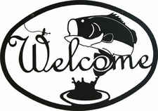 Welcome Sign, Bass, Fishing, Wrought Iron