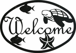 Welcome Sign, Turtle, Beach, Wrought Iron