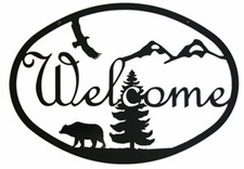Welcome Sign, Bear, Eagle, Mountains, Wrought Iron