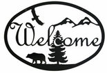 Welcome Sign, House Plaque, Bear, Eagle, Mountains, Wrought Iron