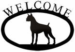 Welcome Sign, House Plaque, Boxer / Dog, Wrought Iron