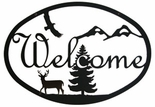 Welcome Sign, Deer, Eagle, Mountains, Wrought Iron