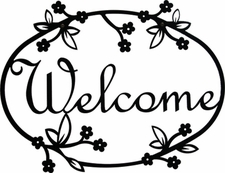 Welcome Sign, Floral, Wrought Iron