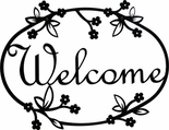Welcome Sign, House Plaque, Floral, Wrought Iron