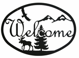 Welcome Sign, House Plaque, Moose, Eagle, Mountains, Wrought Iron