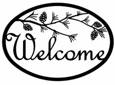 Welcome Sign, Pinecones, Wrought Iron