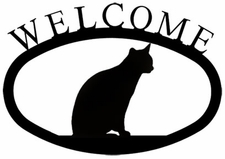Welcome Sign, Sitting Cat, Wrought Iron