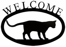 Welcome Sign, Walking Cat, Wrought Iron