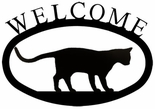 Welcome Sign, House Plaque, Walking Cat, Wrought Iron