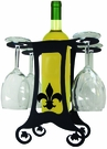 Wine Bottle & 4 Glass Holder, Fleur-De-Lis, Wrought Iron