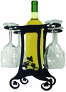 Wine Bottle & 4 Glass Holder, Grapevine, Wrought Iron