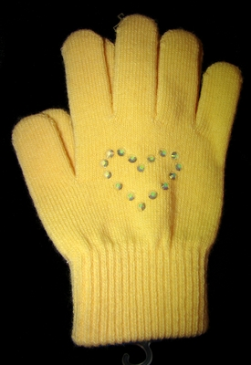 Yellow Knit Gloves with Heart Rhinestone Design