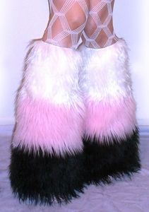 3 Tone Furry Leg Warmers White / Baby Pink / Black