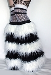 5 Tone White Black Fuzzy Leg Warmers Fluffies Boot Covers