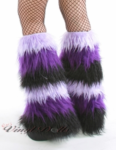 6 Tone Lilac Purple Black Furry Leg Warmers / Fluffies