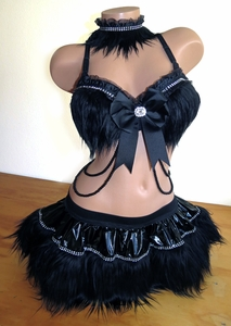 All Black Rave Goth Outfit Bra, Skirt, Collar