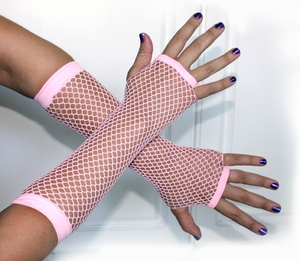 Baby Pink Fingerless Fishnet Gloves