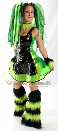 Black and Clear Lime Green Vinyl Dress