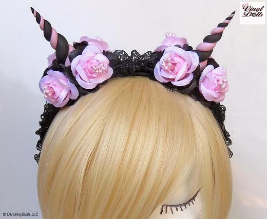 Black and Light Pink floral horned headband