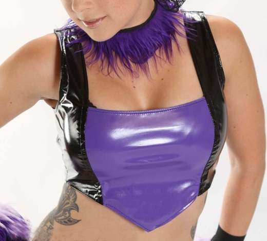 Black and Purple Vinyl V Cropped Top