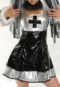 Black and Silver Vinyl Dress