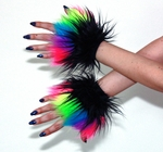 Black and UV Neon Rainbow Furry Cuffs