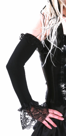 Black Arm Warmers with Lace / Sleeves