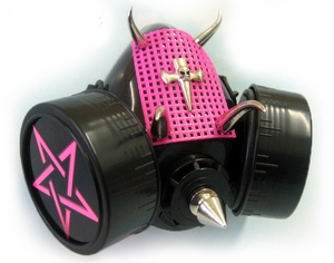 Black Cyber Gas Mask with Hot pink Star, Mesh & Spikes