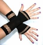 Black / Fishnet Fingerless Gloves, Hand Warmers