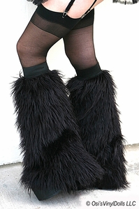 Black Fluffies Leg Warmers