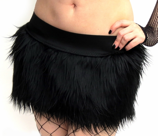 Black Furry Skirt