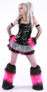 Black Pink and White Sparkly Zebra Outfit