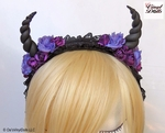Black Purple Floral Devil Horns Headband