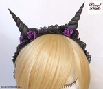 Black Purple floral Fairy Horns headband