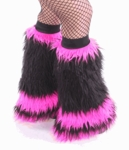 Black / Hot Pink Fluffy Leg Warmers, Fluffies