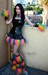 Black Vinyl Rainbow Fur Skirt