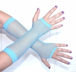 Blue Fingerless Fishnet Gloves