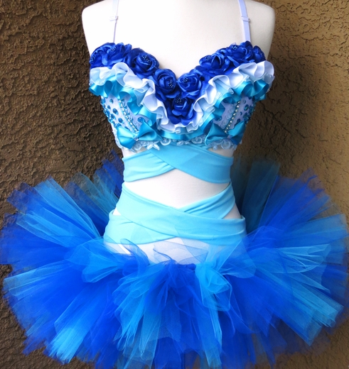 Blue Floral Rave Outfit